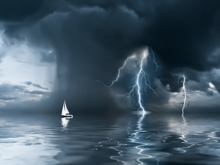 Yacht at the ocean, comes nearer a thunderstorm with rain and lightning on background photo