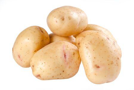 Closeup raw potatoes isolated on white background  photo