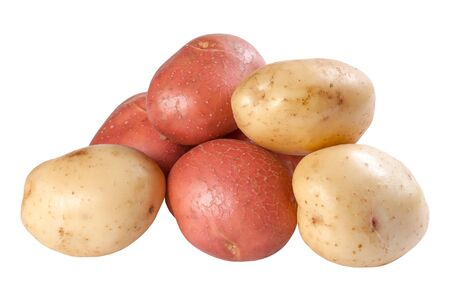 Closeup raw red and white potatoes isolated on white background  photo