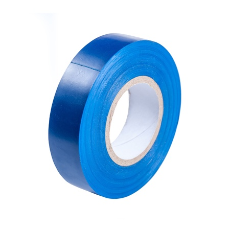 Blue insulating tape hank isolated on a white background Фото со стока