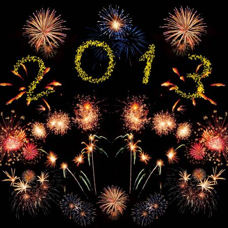 Beautiful colorful 2013 new year fireworks on the black sky background photo