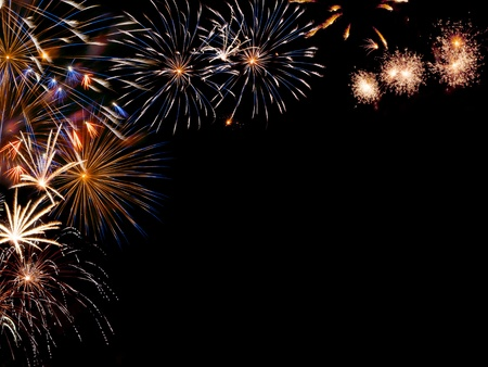 Frame from colorful holiday fireworks with place for your text, for design Foto de archivo