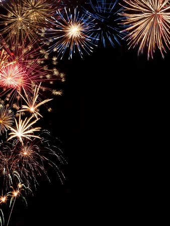 Frame from colorful holiday fireworks with place for your text