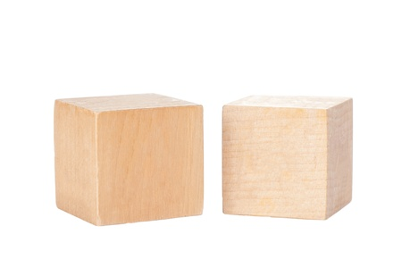 Two wooden toy blocks isolated on white background Фото со стока