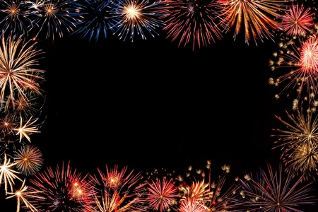 Frame from colorful holiday fireworks with place for your text, for design 스톡 콘텐츠