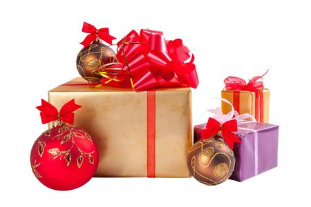 colden: Christmas gifts and balls isolated on white background