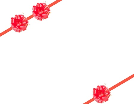 goodie: Red gift ribbon and three big bow isolated on white background Stock Photo