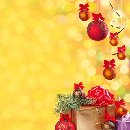 クリスマスと新年のお祝いボケ背景休日のテキストの配置します。