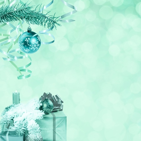 Christmas and New Year festive bokeh background, place for holiday text, vintage style photo