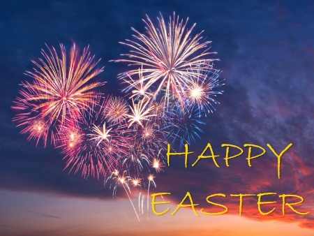 Beautiful colorful holiday fireworks in the evening sky, happy easter photo