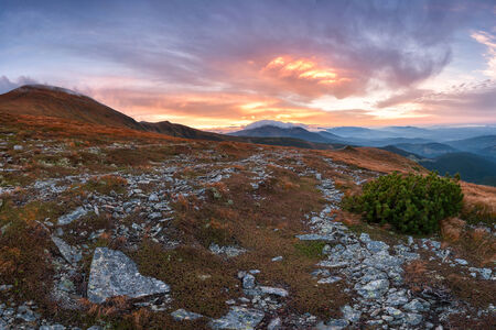 Majestic sunset in mountains, beautiful landscape. Carpathians view photo