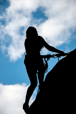A rock climber down from the top