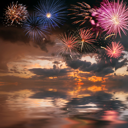 Beautiful holiday fireworks on the majestic sky, for design photo