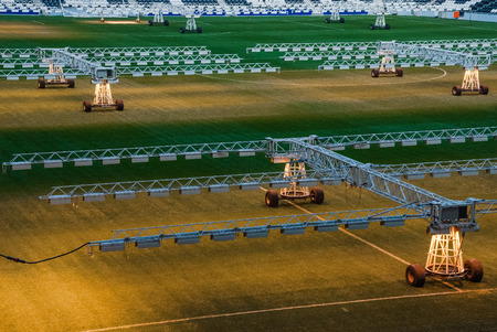 lighting system: The lighting system at the stadium grass Editorial