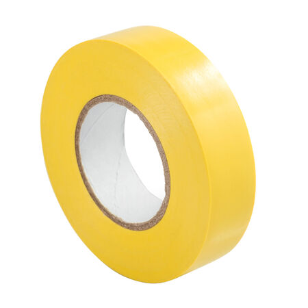 Yellow insulating tape hank isolated on a white background photo