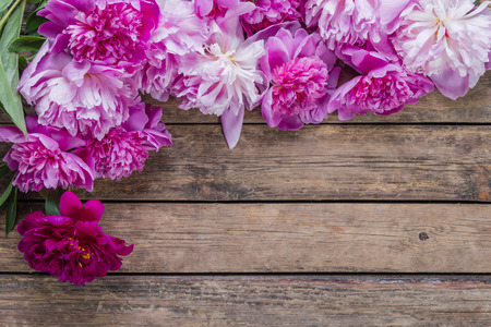 Peony flowers on wooden rustic background