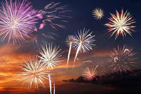 Majestic fireworks in evening sky photo
