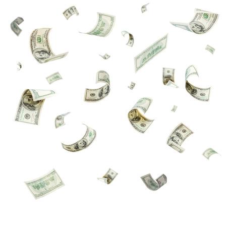 volar: Lluvia de la caída de dólares aisladas sobre fondo blanco Foto de archivo