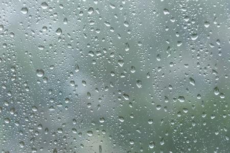 Drops of rain on window glass