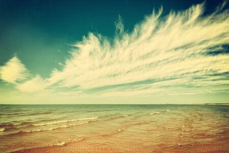 paradise place: Vintage ocean with a sandy beach, paradise place Stock Photo