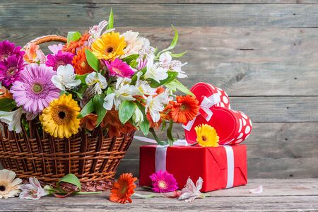 valentine day: Fresh gerbera flowers on wooden background, flower border, floral background with place for text Stock Photo