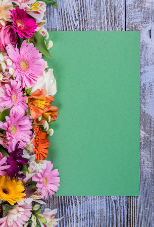 coloful: Coloful postcard with empty paper sheet and flowers, floral background