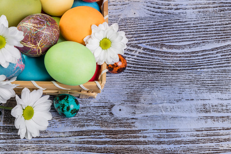 painted eggs: Easter painted eggs in basket with flowers, easter background Stock Photo