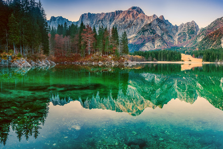valley view: Landscape with beautiful lake and mountain, lago di Fusine, Italy Stock Photo