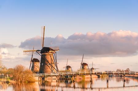 holland landscape: Traditional Holland landscape with windmills, Kinderdijk