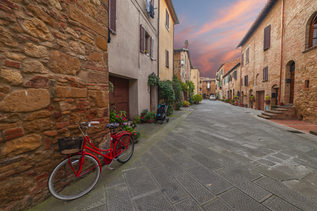 pienza: Ancient Italian town in twilight and light of lanterns, Pienza, Tuscany