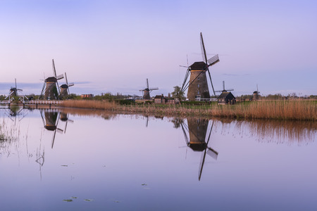 holland landscape: Traditional Holland landscape with windmills and canals, Kinderdijk Stock Photo