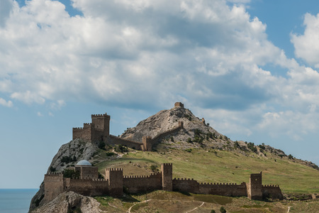sudak: Landscape with ancient Genoese fortress on hill, Sudak, Crimea Stock Photo