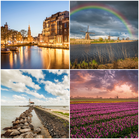 amstel river: Set of different traditional Holland landscapes: Amsterdam, tulip fields, windmills and sea