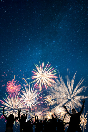 Friends looks holiday fireworks, for Christmas and New Year design, background and banner
