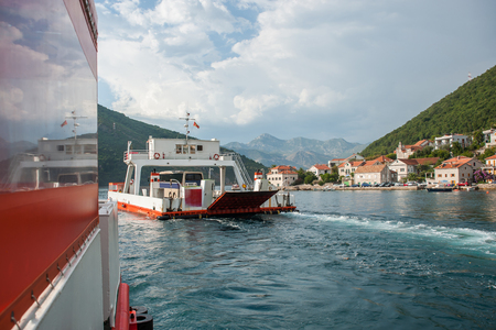 Ferry from Tivat to the Adriatic Sea, Montenegro Stock Photo