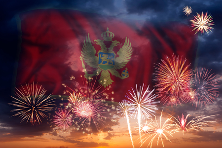 Holiday sky with fireworks and flag of Montenegro, independence day Stok Fotoğraf