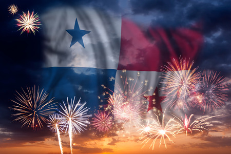Holiday sky with fireworks and flag of Panama, independence day 版權商用圖片