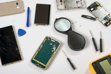 Cell phone test and repair. Smartphone parts and tools for recovery