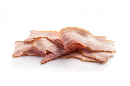 Fresh bacon isolated on white background. Breakfast, dinner, lunch, fast food