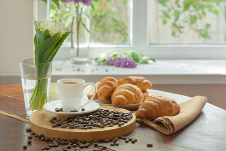 Breakfast with aromatic black coffee, good morning, great start to the day. Coffee break, copy space