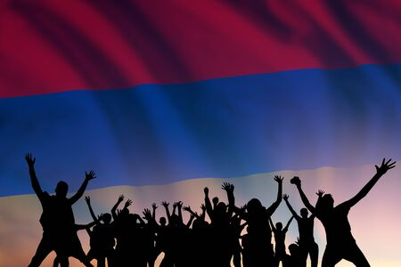 Peoples silhouette on flag and sky background, day of Armenia, independence holiday