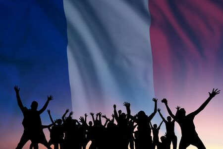 Peoples silhouette on flag and sky background, day of France, independence holiday