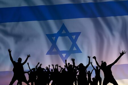 Peoples silhouette on flag and sky background, day of Israel, independence holiday