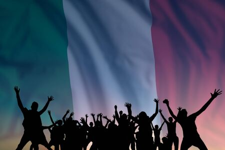 Peoples silhouette on flag and sky background, day of Italy, independence holiday