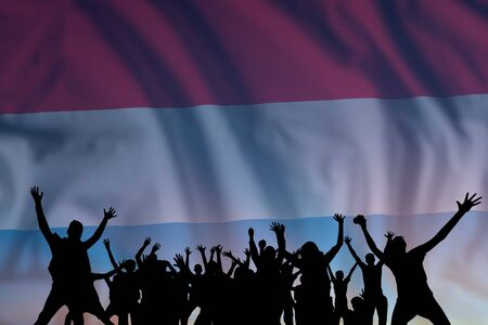 Peoples silhouette on flag and sky background, day of Luxembourg, independence holiday