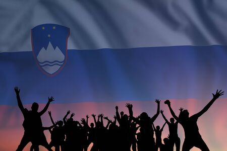 Peoples silhouette on flag and sky background, day of Slovenia, independence holiday  스톡 콘텐츠
