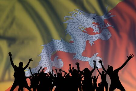 Peoples silhouette on flag and sky background, day of Bhutan, independence holiday