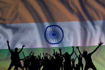 Peoples silhouette on flag and sky background, day of India, independence holiday