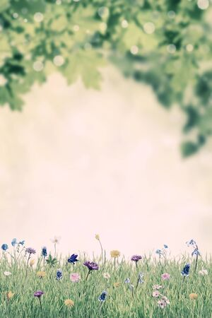 Green spring background with wild flowers, nature floral wallpaper. Retro stylization, vintage film filter