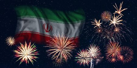 Holiday sky with fireworks and flag of Iran, independence day of country